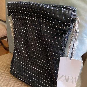 🔥NWT Zara Rhinestones Studded Bucket Bag